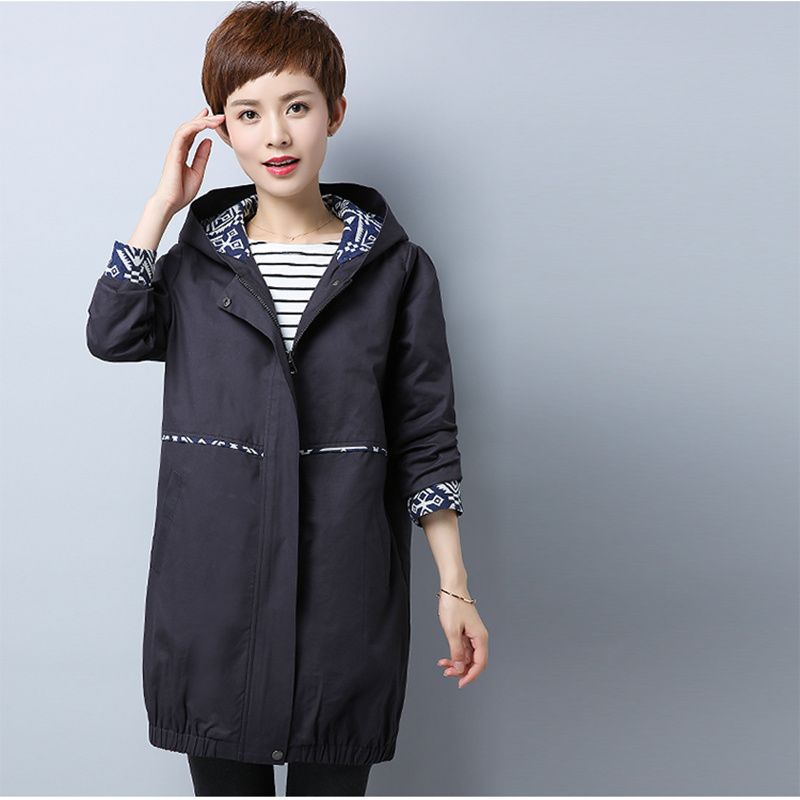 Womens trench hooded 97.5% cotton zipper solid color spliced loose female outwear windbreaker plus size M-6XL 2017 autumn new