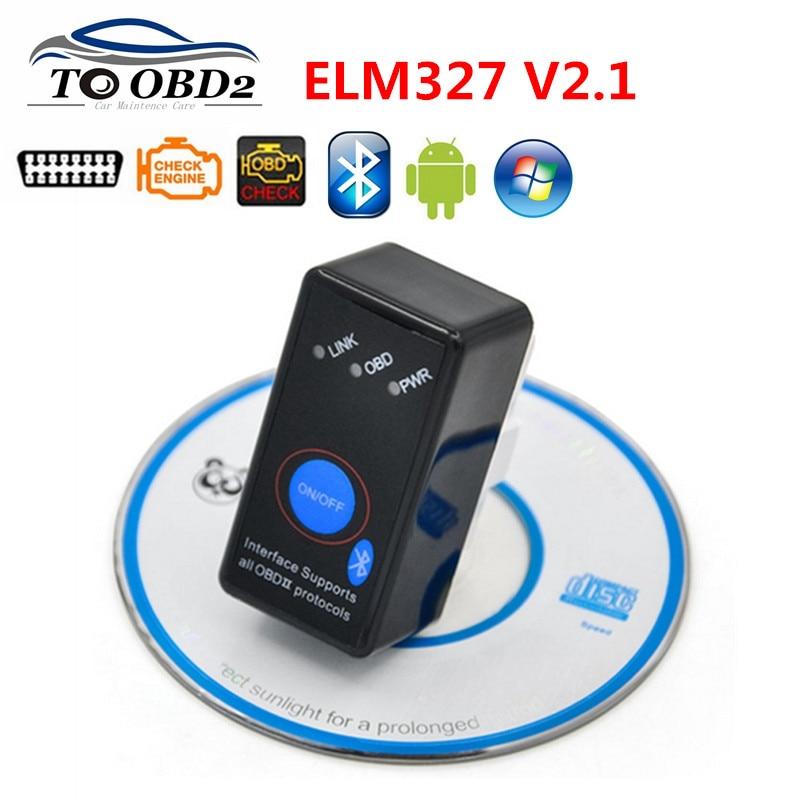 ELM327 Bluetooth V2.1 With Power Switch ODB2 ODBII OBD II ELM 327 Bluetooth Tester Auto Diagnostic Scan Tool Torque Android