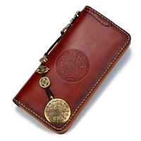 Cow Leather Delicate Pendant Wallets Embossing Bag Purses Women Men Long Clutch Vegetable Tanned Leather Wallet Card Holder