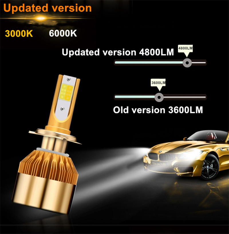 CROSSLEOPARD White Gold Color 12V 10000LM H4 H7 H1 H8 H9 H11 Led Car Headlight 3000K 6000K Dual Color Led Headlamp Auto Bulbs  (6)