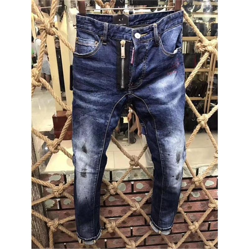 Fashion Vintage Mens Ripped Jeans Pants Slim Fit Distressed Hip Hop Denim pants 2018 spring men blue stretch jeans pants 44-52