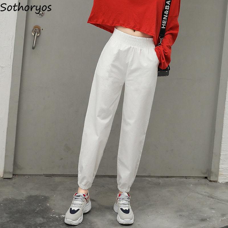 Pants Women High Waist Casual Hip Hop Harem Full Length Womens Trousers All-match Retro Simple Daily Student BF Cool Ladies New