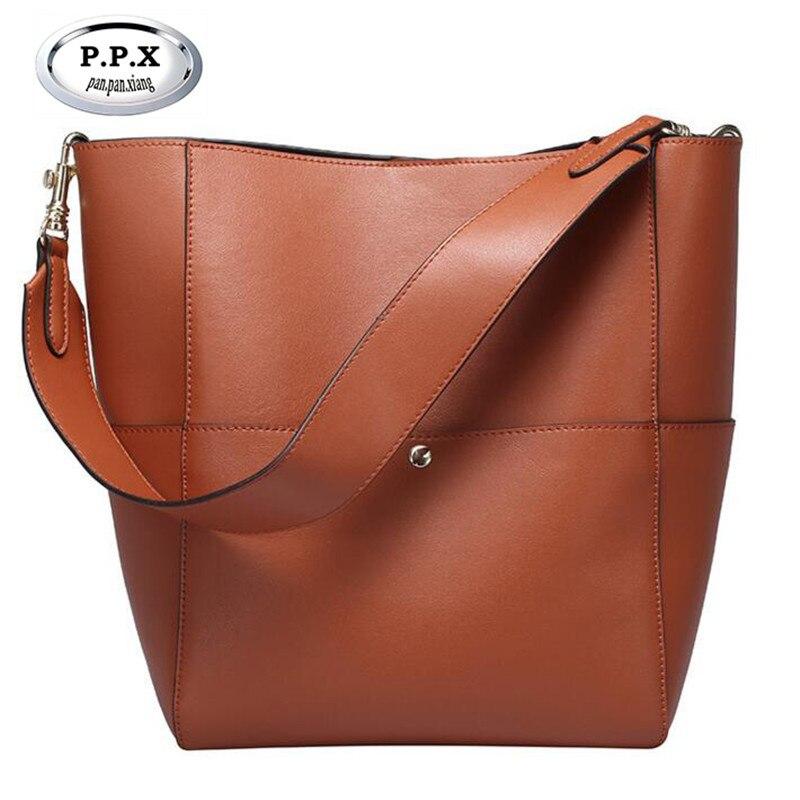 P.P.X Luxury Handbag Split Leather Bucket Composite Bag Hot Sale Fashion Trends Women's Bags Female Vintage Satchel Bag M522 p p x split leather composite bag