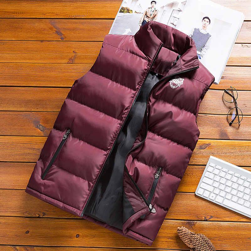 LLYGE 男性のノースリーブ綿パッド入りのベストコート 2019 春暖かい固体カジュアル厚いスタンド襟パーカージャケット男性 Outwears 6XL