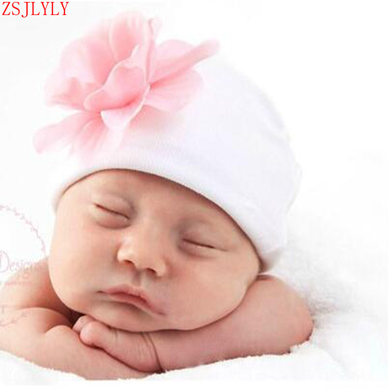ZSJLYLY Brand Cute Pink Blue Baby Beanie Hospital Hat Girl Flower Rhinestones Hats Perfect Newborn Gift Baby Cap Accessories