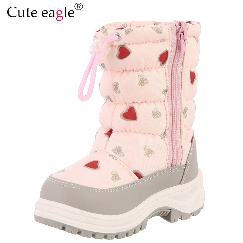Cute Eagle Winter Girl's Nonslip Snow Boots Kids Mountaineering Skiing Warm Felt Boots School Outdoor Activities Eur Size 22-33