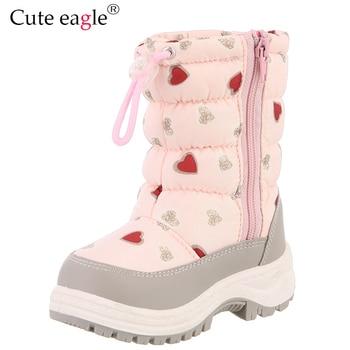 Cute Eagle Winter Girl's Nonslip Snow Boots Kids Mountaineering Skiing Warm Felt Boots School Outdoor Activities Eu Size 22-33