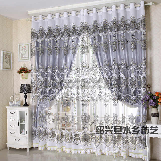 Europe white draperies and sheer curtains for living room embroidery