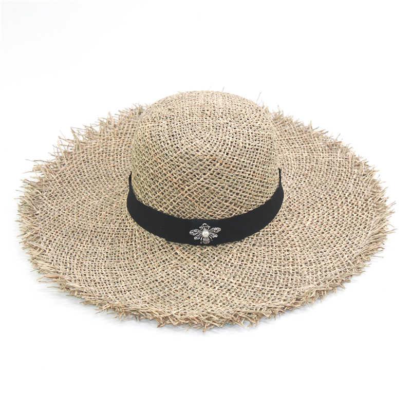 Nowe mody pszczoła dekoracji kapelusze plażowe dla kobiet panie oddychające fajne lato słomy kapelusz słońce kopuła góry daszki ochronne hurtownie