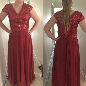 Burgundy Chiffon Bridesmaid Dresses V Neck Short Sleeve A Line Sequined Long Wedding Guest Dress 2019 Cheap Women Party Gowns