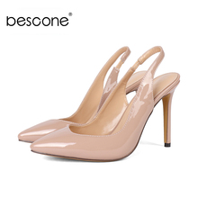 BESCONE New Fashion Slip-On Thin Heel Ladies Pumps Casual Shallow 10 cm Super High Heel Shoes Sexy Pointed Toe Women Pumps BY15 poadisfoo 2018 women s fashion simple thin high heel shallow mouth ladies sexy pumps 10 5cm psds 638 5