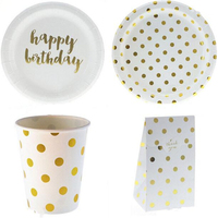 Foil Gold Dot Baby Shower Party Supplies Cake Dish Disposable Tableware Paper Plate Cups For Wedding Birthday Party Favors