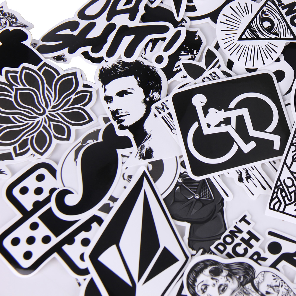 60pcs/lot Black and White DIY Doodle Sticker Graffiti Skateboard ...