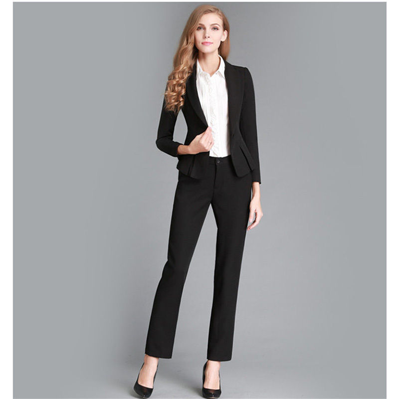 New Black Female Office Uniform Designs Women Evening Pants Suits 2 Piece Business Suit Custom Made B66