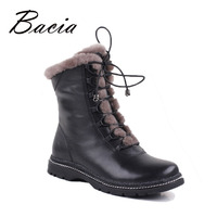 Bacia Winter Very Warm Wool Fur Boots Genuine Full Grain Leather Snow Boots Women Low Heel