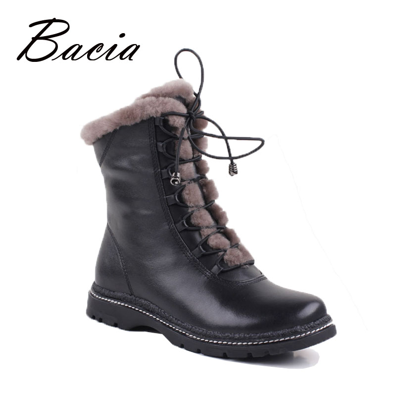 Bacia Winter Mid-Culf Warm Wool Fur Boots Genuine Full Grain Leather Long Plush Snow Boots Women High Quality Flat Shoes VB054 bacia winter boots for women full grain leather boots heels 5 8cm wool fur