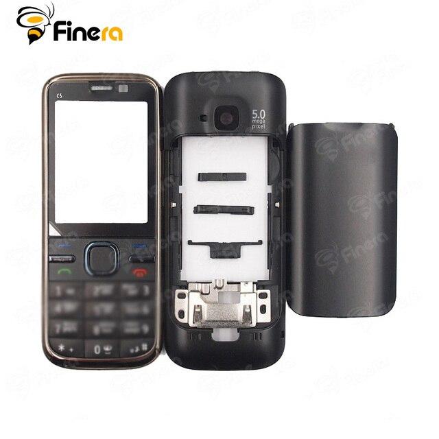 Frente Oriente Quadro de Volta tampa Da Bateria Tampa Para Nokia C5 C5-00 Completa Habitação Caso Capa Com Teclado Inglês
