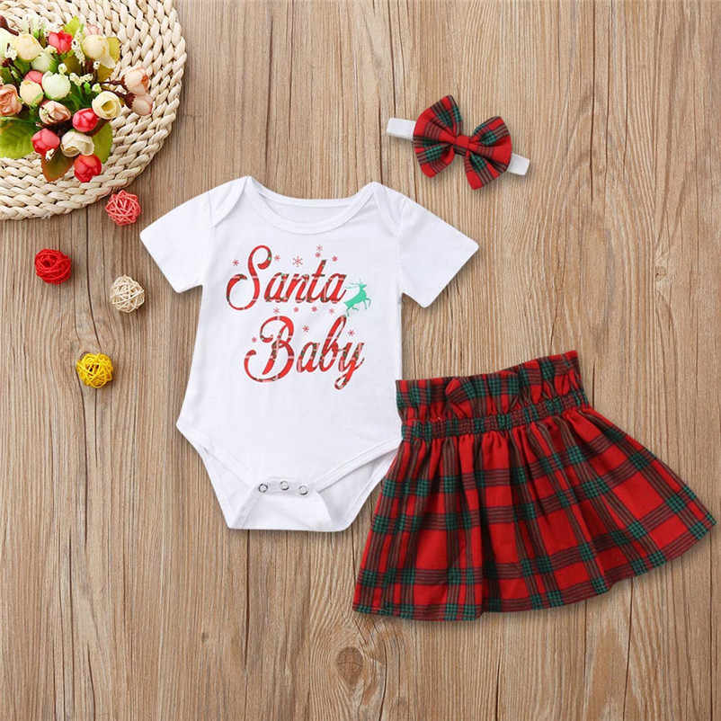 b911ddb71ef2 ... Infant Baby Girls Letter Tops Romper+Plaid Skirts Outfits Christmas  Clothes Set white lovely beautiful ...