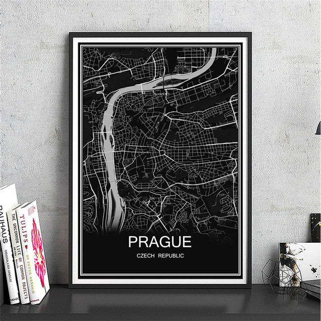 Prague modern city poster canvas coated paper world map abstract print picture oil painting cafe decor