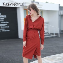 TWOTWINSTYLE Tunic Dress Female V Neck High Waist Patchwork Slim Bodycon Midi Long Dresses Spring Fashion Elegant Clothing