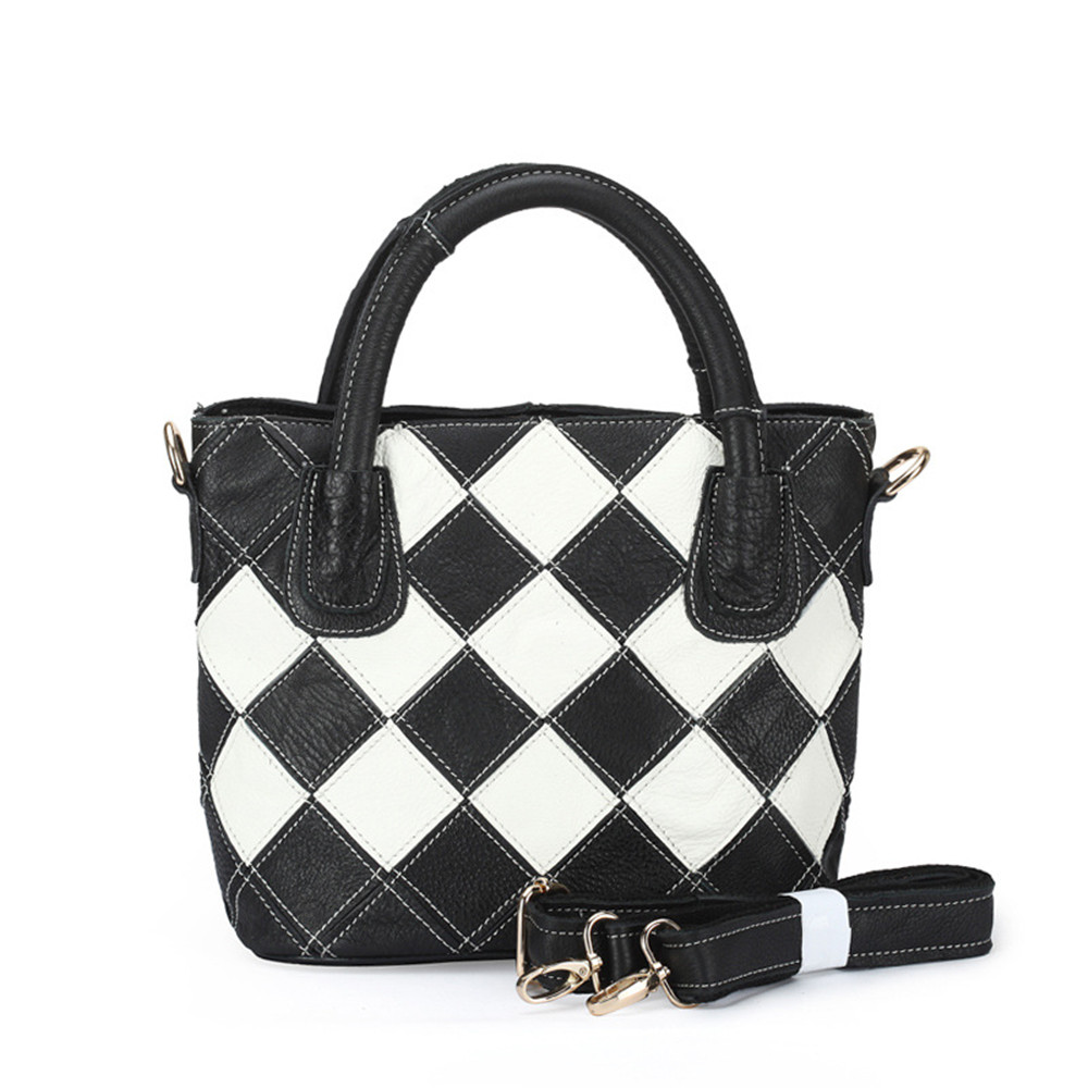 Фото Caerlif Free shipping new fashion leather Leopard grain  black and white with hand held his head layer cowhide female bag bag
