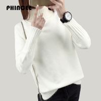 PHINCEE 2017 Autumn Winter Knitting Sweater And Pullover For Women Casual Turtleneck Loose Coat Female Thick