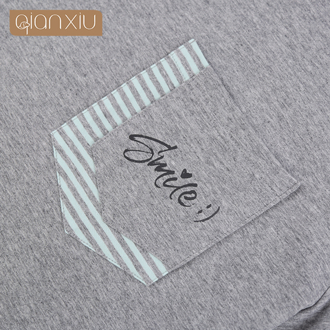 Qianxiu Mens New Short-Sleeved Cotton pajamas Solid Color Striped Casual Wear hot selling 1890 Multan