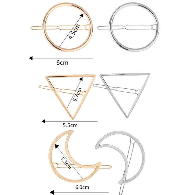 Геометрическая форма заколка для волос для женщин леди девушка панк выдалбливают Луна треугольник круг заколки для волос золотой тон