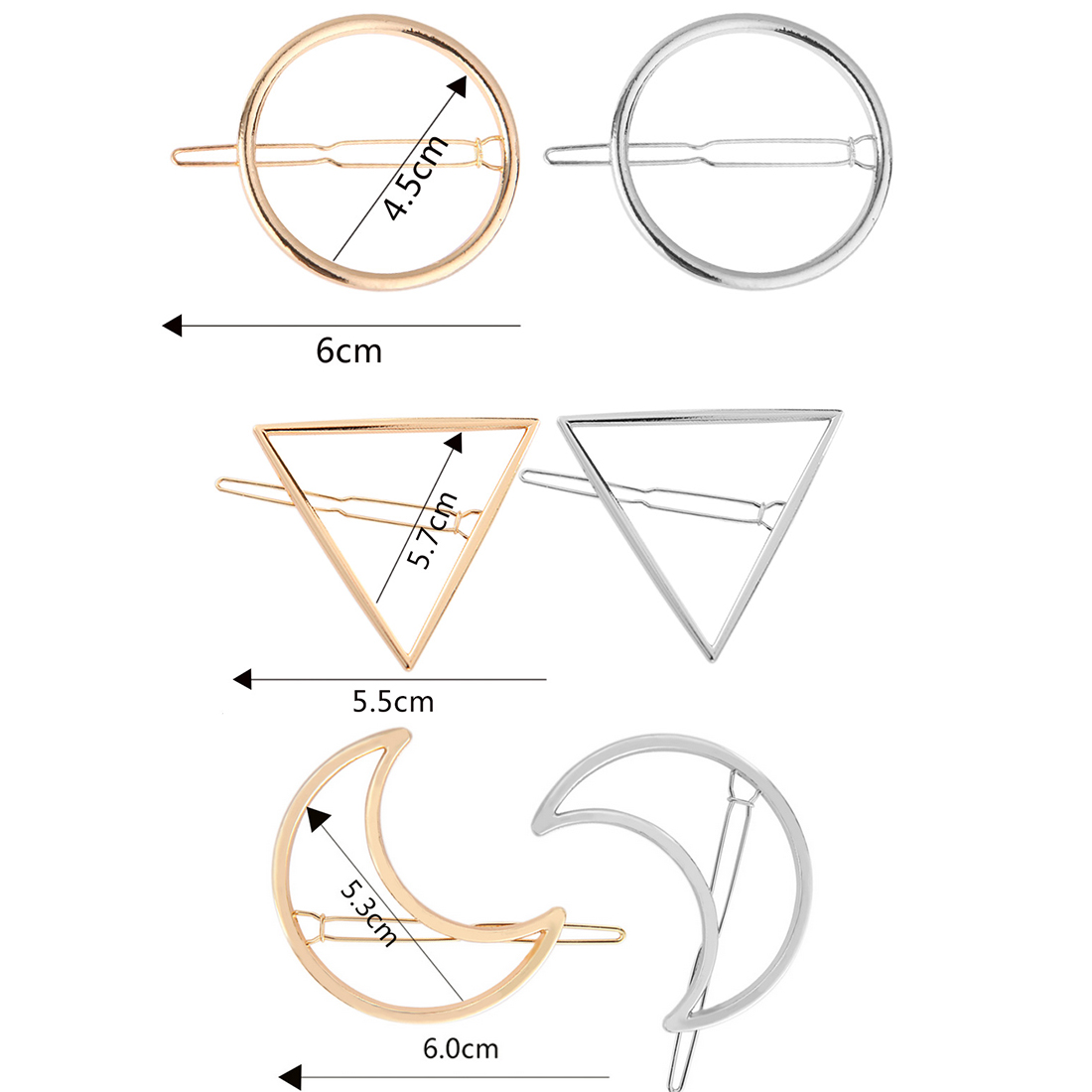 Geometric Shape Hair Clip Fashion Women Lady Girl Punk Hollow Out Moon Triangle Circle Barrettes Hairpin Clamps Gold Tone