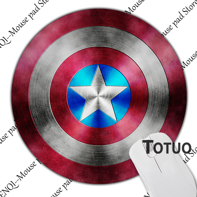 New Design Captain America Logo Round Mousepad Anti-Slip Laptop PC Mice Pad Gaming Mousepad For Optical Laser Mousemat