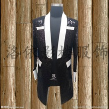 black sequind white collar long medieval jacket vintage stage performance/dance/studio/club jacket/blazers