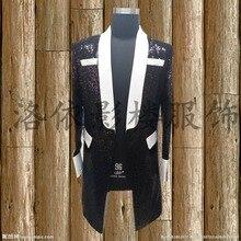 black sequind white collar long medieval jacket vintage stage performance dance studio club jacket blazers