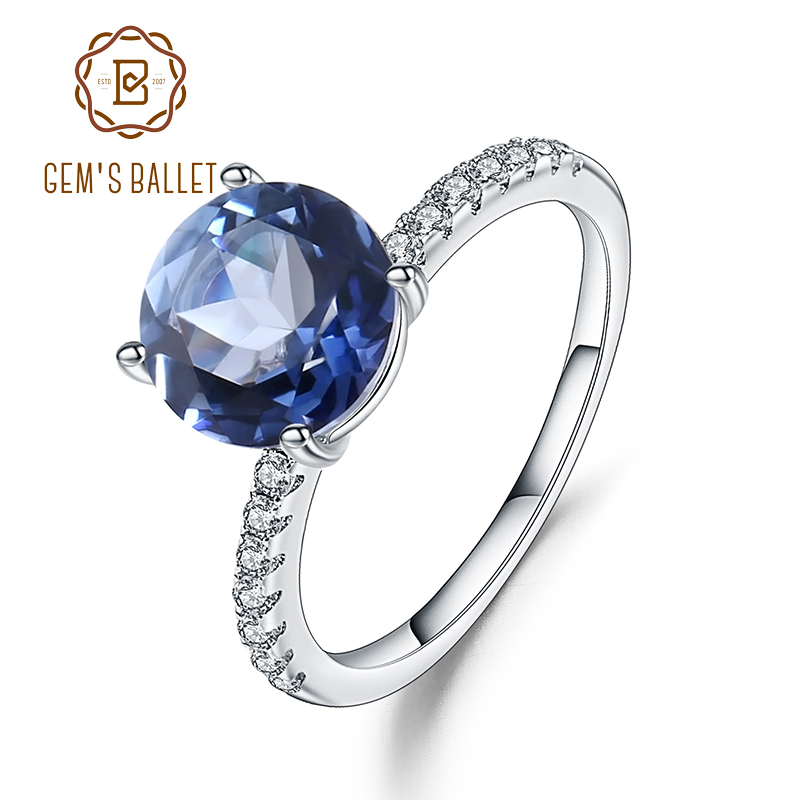Gem's Ballet 2.73Ct Natural Iolite Blue Mystic Quartz Simple Ring 925 Sterling Silver Engagement Rings For Women Fine Jewelry