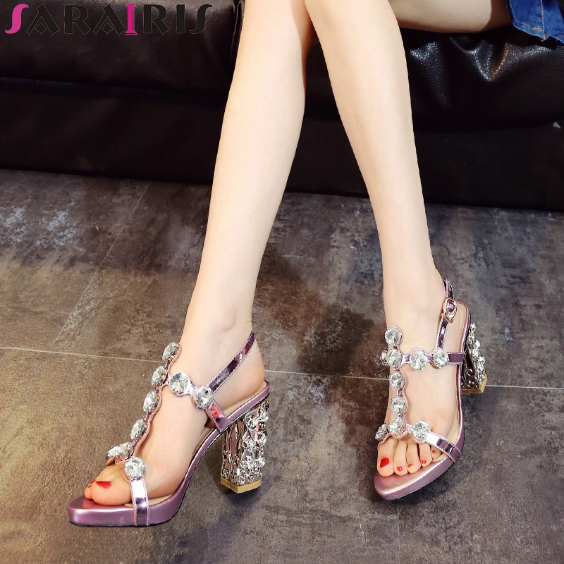 SARAIRIS 2018 Spring Autumn New Brand Genuine Leather Lace Up Women Pumps Fashion Fretwork Shallow Med Heels OL Shoes Woman