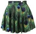 Взрыв моделей мода мини-юбки плиссированные юбки отпечатано павлин мотивы