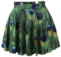 Explosion models fashion mini skirt pleated skirt printed peacock motifs