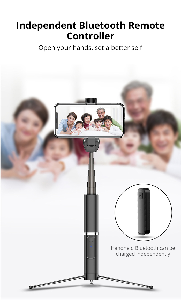Bonola Portable Integrated Tripod Selfie Stick Hidden Phone Bracket Bluetooth Button Phone Self-timer Lever Holder For Phone