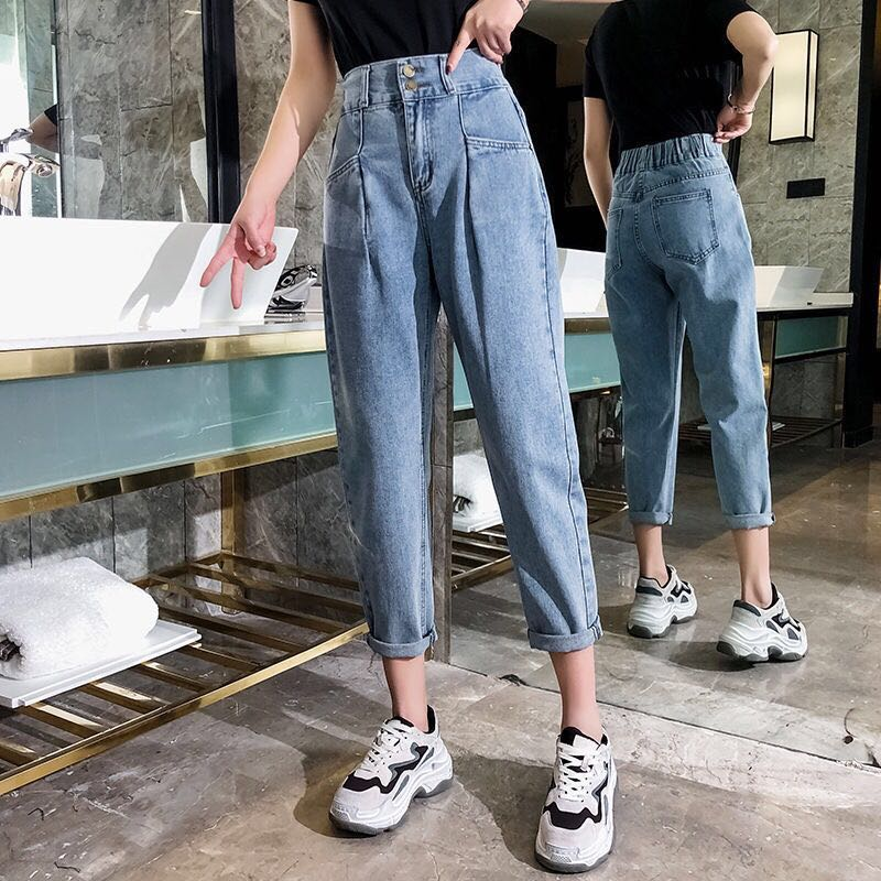 Elastic High Waist Jeans Woman Boyfriend Plus Size Korean Vintage Oversized Jeans Mom Oversize Trousers Blue Pant Women 2019