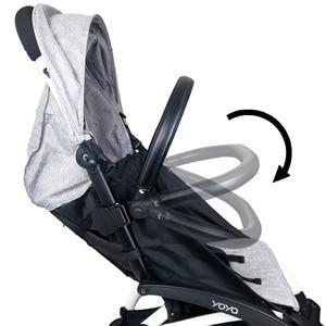 Image 2 - Baby Carriage Bumper Bar PU Leather Multi angle Adjustable Armrest For Babyzen yoyo Stroller Accessories Pram Bar handrail