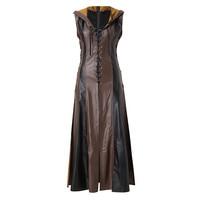 JAYCOSIN Casual Dresses For Women 2019 Cosplay Costume Vintage Sheath V Neck Clothing Leather Hooded Dress Vestido De Festa