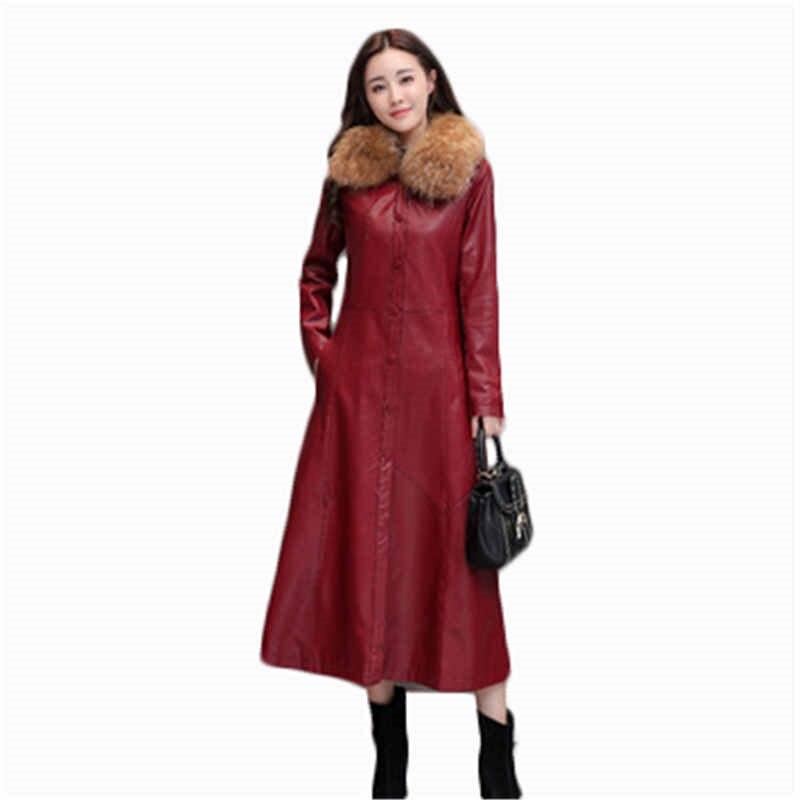 Winter women's   leather   Coat Slim large size single-breasted women Big Fur Collar   leather   Female windbreaker PU   leather   CoatJ836