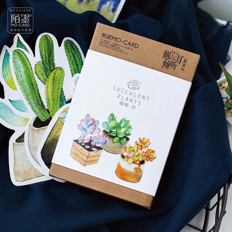 Cute Plant Night Glowing Postcard Kawaii DIY Diary Decoration Stationery Notepad Message Cards Birthday Gift Card 30Sheets/Box