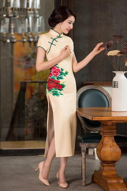 2016 Modern Yellow Peony Chinese Qipao Short Sleeve Women Sexy High Slit Long Cheongsam Qipao Dress