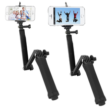SHOOT 3 Way Tripod Monopod Extendable Arm Mount for Phone With Clip For GoPro Hero 5 4 3 H9 H9r C30 C30r SJCAM Pole Accessory