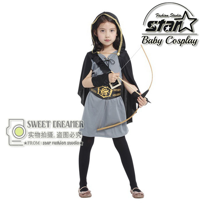 Green Arrow Costume Children Girls Dress Deguisement Halloween Kids Cosplay Costumes Carnaval Fancy Dress With Cloak halloween cosplay costumes girls alice in wonderland costume lolita fancy dress cosplay costume for children