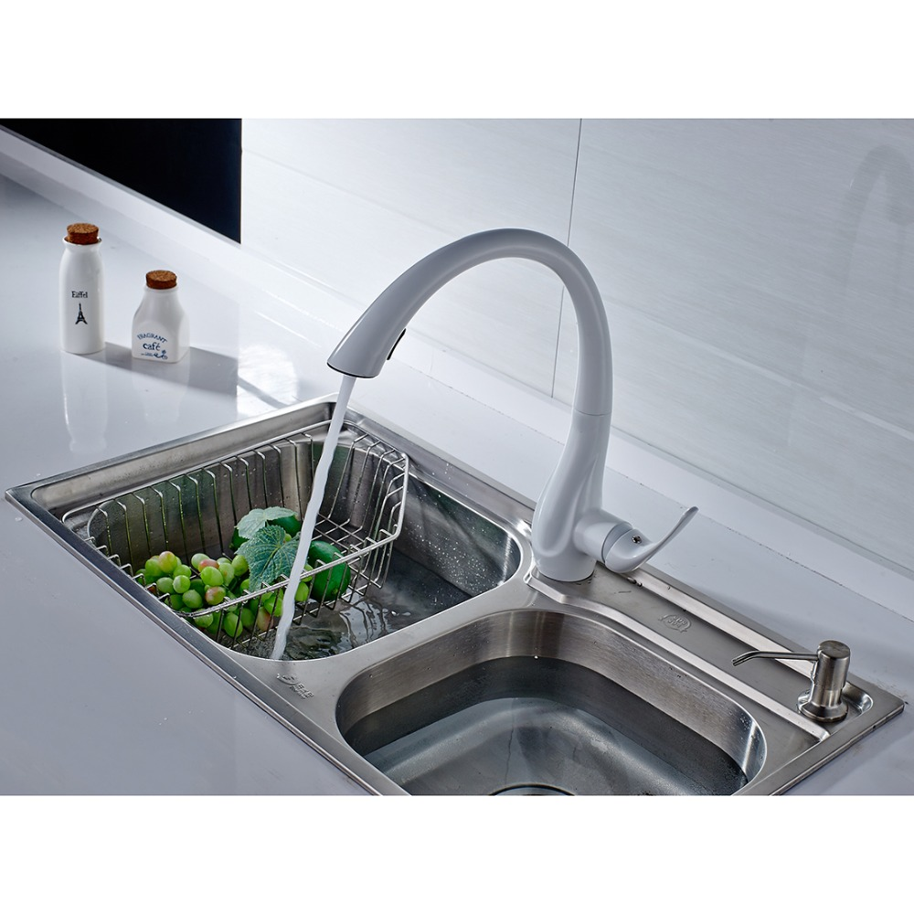 FLG Kitchen Faucet Pull Out White Painting 360 Degree Rotating Deck ...
