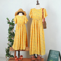 Mom and Daughter Dress Yellow Summer Family Matching Outfit Chiffon floral Beach Dress Flower Printed Mother Daughter Dresses
