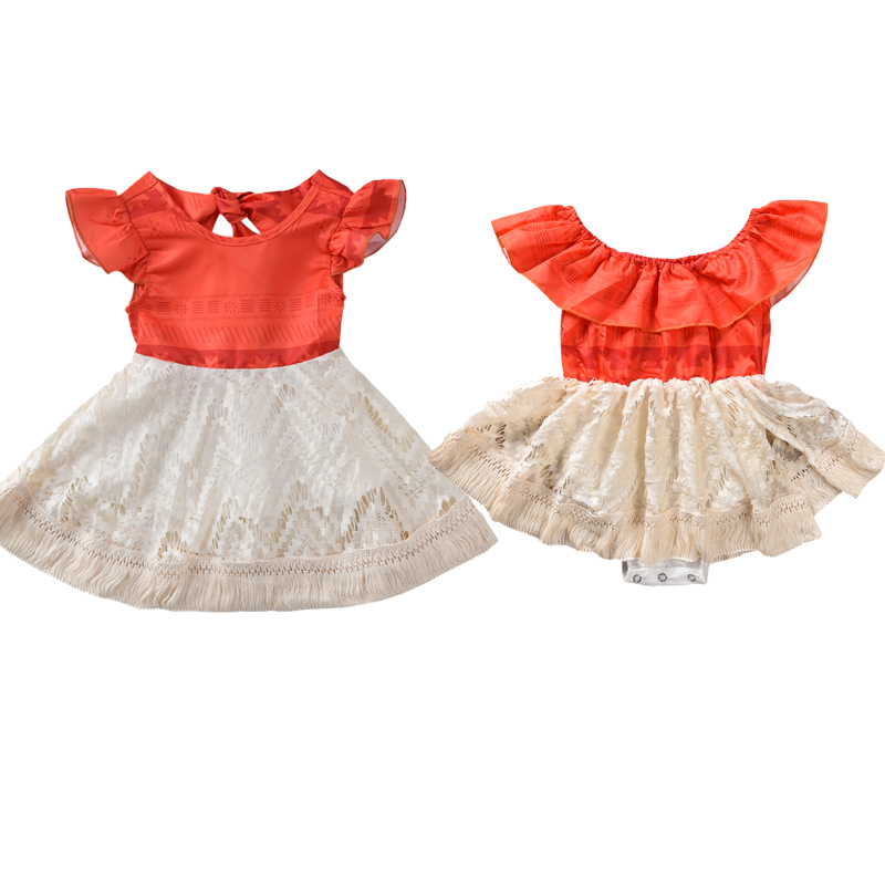 Big Sister Little Sister Floral Matching Clothing Lace Ruffle Sleeve Romper/&Dress Outfit Family Clothing