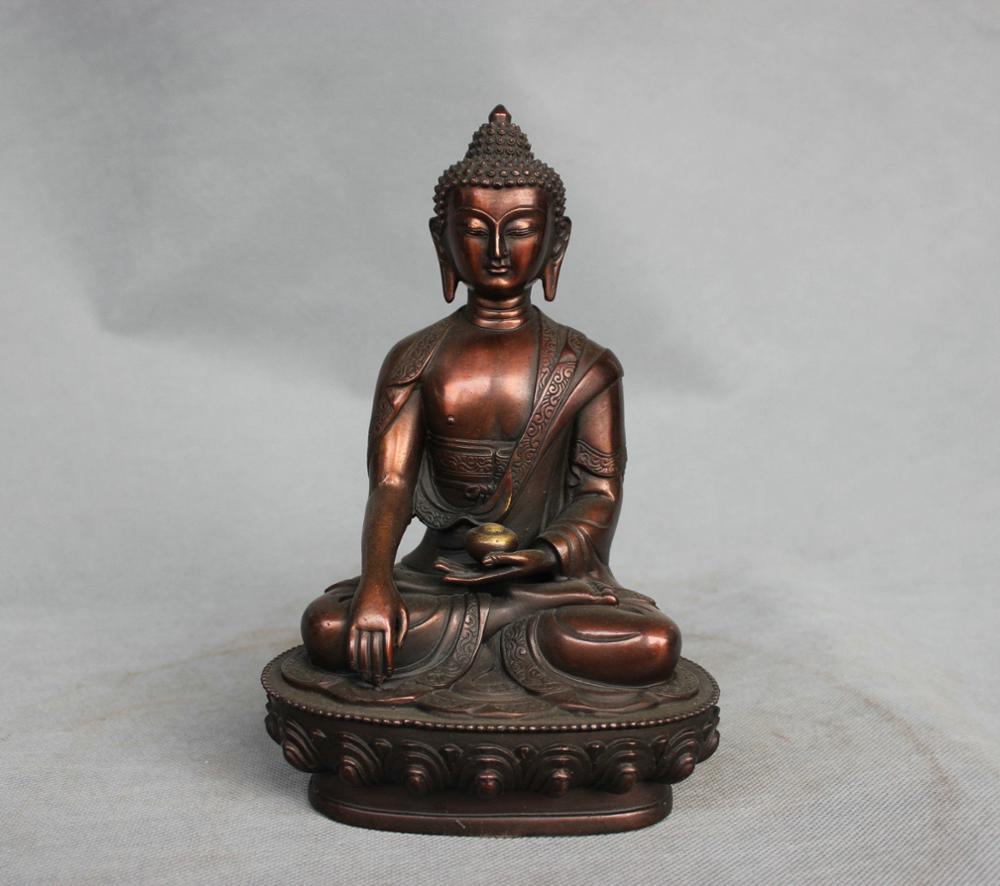 SS 8'' China Tibet Bronze Shakyamuni Buddha Statue Hold Offering Bowl