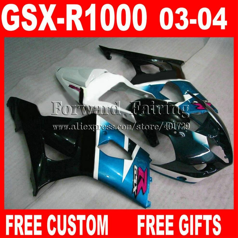 Brand new Fairings for 2003 2004 SUZUKI GSXR 1000 fairing set GSXR1000 K3 03 04 GSX-R1000 white light blue black 7 gifts HG341